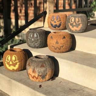 Concrete Pumpkin Planters 2