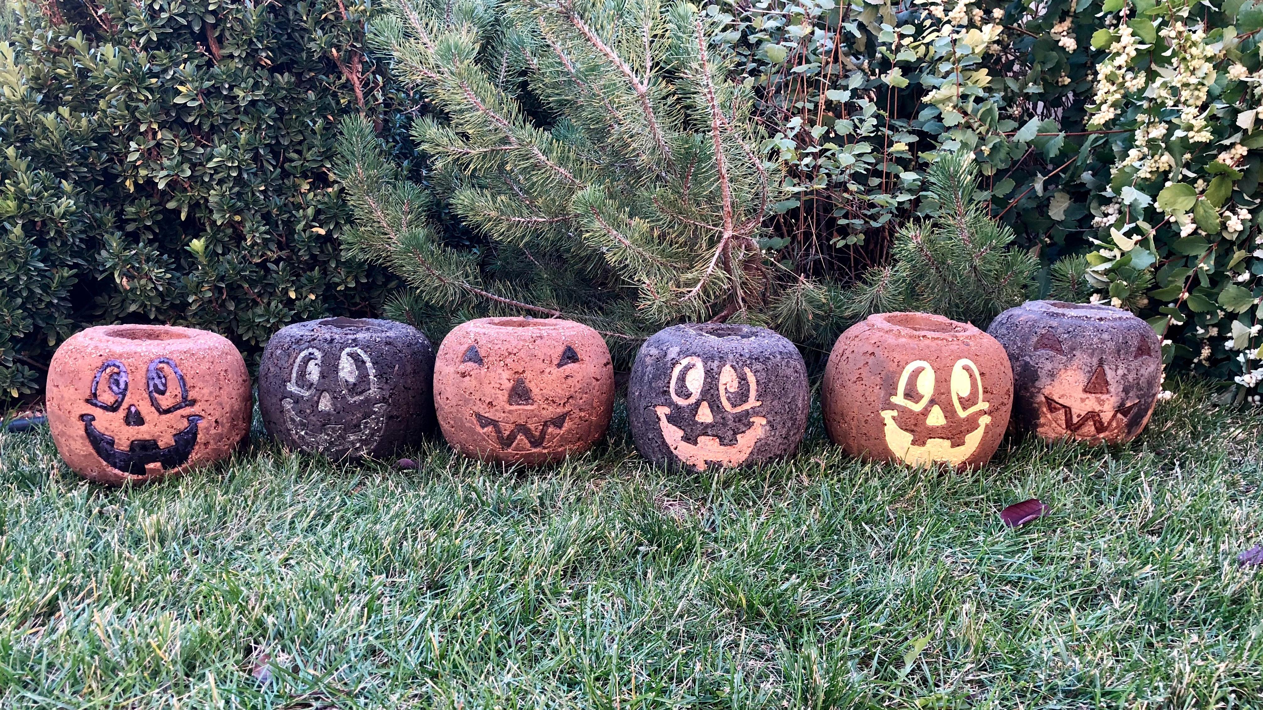 Concrete Pumpkin Planters